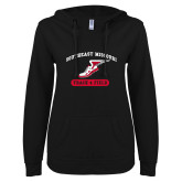 Bookstore ENZA Ladies Black V Notch Raw Edge Fleece Hoodie-Track & Field