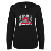 Bookstore ENZA Ladies Black V Notch Raw Edge Fleece Hoodie-Gymnastics