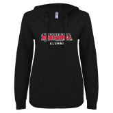 Bookstore ENZA Ladies Black V Notch Raw Edge Fleece Hoodie-Alumni