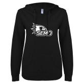 Bookstore ENZA Ladies Black V Notch Raw Edge Fleece Hoodie-SEMO Logo