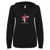 ENZA Ladies Black V Notch Raw Edge Fleece Hoodie-2017 OVC Mens Outdoor Track and Field Champions back to back