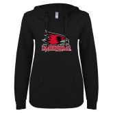 Bookstore ENZA Ladies Black V Notch Raw Edge Fleece Hoodie-Primary Logo