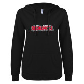 Bookstore ENZA Ladies Black V Notch Raw Edge Fleece Hoodie-Southeast Missouri Redhawks