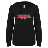 Bookstore ENZA Ladies Black V Notch Raw Edge Fleece Hoodie-Football