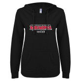 Bookstore ENZA Ladies Black V Notch Raw Edge Fleece Hoodie-Soccer