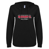 Bookstore ENZA Ladies Black V Notch Raw Edge Fleece Hoodie-Volleyball