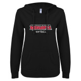 Bookstore ENZA Ladies Black V Notch Raw Edge Fleece Hoodie-Softball