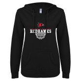 Bookstore ENZA Ladies Black V Notch Raw Edge Fleece Hoodie-Basketball