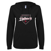 Bookstore ENZA Ladies Black V Notch Raw Edge Fleece Hoodie-Baseball
