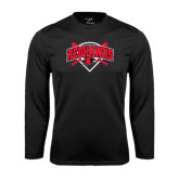 Syntrel Performance Black Longsleeve Shirt-Softball Design w/ Bats and Plate