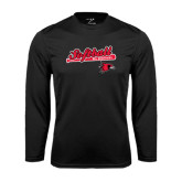 Syntrel Performance Black Longsleeve Shirt-Softball Script on Bat