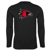 Bookstore Performance Black Longsleeve Shirt-Hawk Head