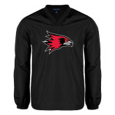 V Neck Black Raglan Windshirt-Redhawk Head