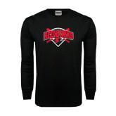 Black Long Sleeve TShirt-Softball Design w/ Bats and Plate
