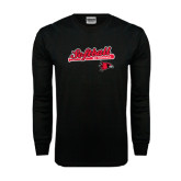 Black Long Sleeve TShirt-Softball Script on Bat
