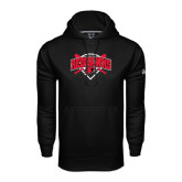 Under Armour Black Performance Sweats Team Hoodie-Softball Design w/ Bats and Plate