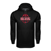 Under Armour Black Performance Sweats Team Hood-Tall Football Design