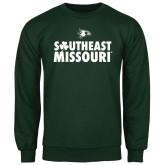 Dark Green Fleece Crew-Southeast Missouri Stacked Clover