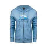 ENZA Ladies Light Blue Fleece Full Zip Hoodie-Official Logo Foil
