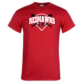 Red T Shirt-Softball Design w/ Bats and Plate