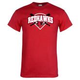 Red T Shirt-Softball Design w/ Bats and Plate
