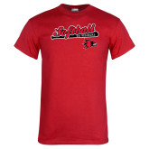 Red T Shirt-Softball Script on Bat