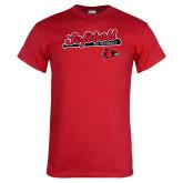 Red T Shirt-Softball Script on Bat