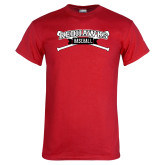 Red T Shirt-Baseball Crossed Bats