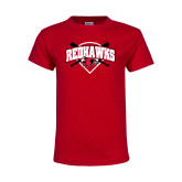 Youth Red T Shirt-Softball Design w/ Bats and Plate