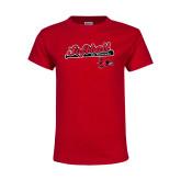 Youth Red T Shirt-Softball Script on Bat