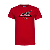 Youth Red T Shirt-Track and Field Side Design