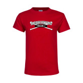 Youth Red T Shirt-Baseball Crossed Bats