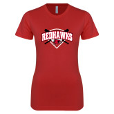 Bookstore Next Level Ladies SoftStyle Junior Fitted Red Tee-Softball