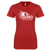 Bookstore Next Level Ladies SoftStyle Junior Fitted Red Tee-SEMO Logo with Redhawks