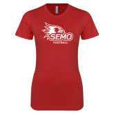 Bookstore Next Level Ladies SoftStyle Junior Fitted Red Tee-Football