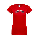 Next Level Ladies SoftStyle Junior Fitted Red Tee-Arched Southeast Missouri Redhawks