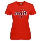 Ladies Red T Shirt-Soccer Swoosh