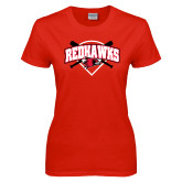 Ladies Red T Shirt-Softball Design w/ Bats and Plate