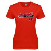 Ladies Red T Shirt-Softball Script on Bat