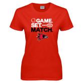 Ladies Red T Shirt-Tennis Game Set Match