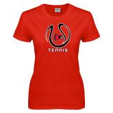 Ladies Red T Shirt-Tennis Ball