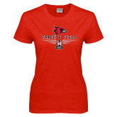 Ladies Red T Shirt-Track and Field Design