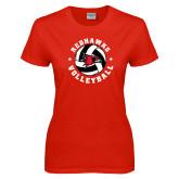 Ladies Red T Shirt-Volleyball Stars Design