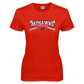 Ladies Red T Shirt-Baseball Bats