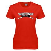 Ladies Red T Shirt-Baseball Crossed Bats
