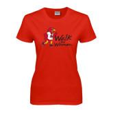 Ladies Red T Shirt-Walk For Redhawks