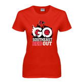 Ladies Red T Shirt-GO Southeast Red Out