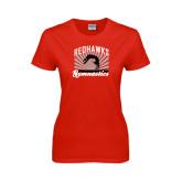 Ladies Red T Shirt-Redhawk Gymnastics Backflip