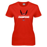 Ladies Red T Shirt-2017 OVC Mens Outdoor Track and Field Champions