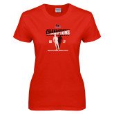 Ladies Red T Shirt-2017 OVC Mens Outdoor Track and Field Champions back to back